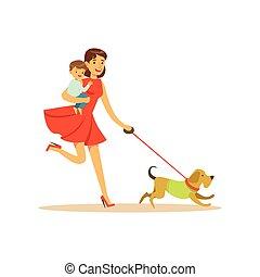 marche, super, caractère, chien, maman, enfant
