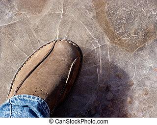 marche, sur, mince, glace