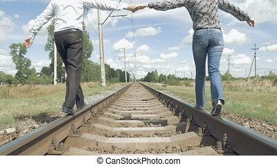 marche, tenue femme, mains, ferroviaire, long, homme
