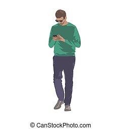 marche, texting., isolé, illustration, téléphone portable, vecteur, mains, homme