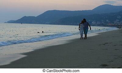 marche, togethe, plage, couple