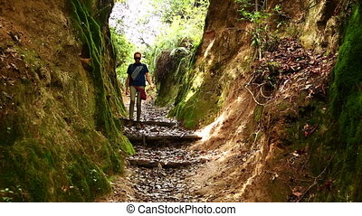 marche, touriste, népal, femme, trekking, caucasien, montagnes, himalaya