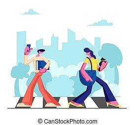 marche, traffic., ville, occupé, jeune, temps, passage clouté, adorable, plat, femme, style de vie, grand, illustration, téléphone, épargner, long, hâte, week-end, dessin animé, homme, travail, chien, vecteur, habitants, ou, métropole