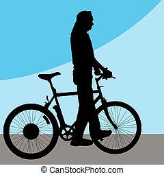 marche, vélo, homme