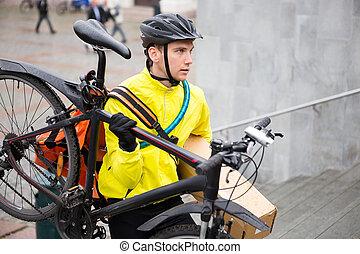 marche, va bicyclette courrier, paquet, haut, livraison, étapes, homme