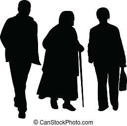 marche, vecteur, silhouette, famille