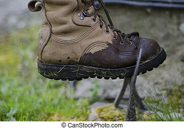 marche, vieux, botte, être, boueux, mouillé, botte, moule,...
