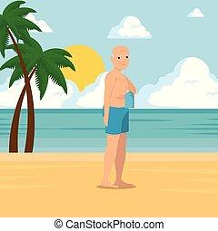 marche, vieux, conception, long, plage, homme