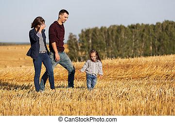 marche, vieux, famille, moissonné, jeune, champ, 2, année, girl, heureux
