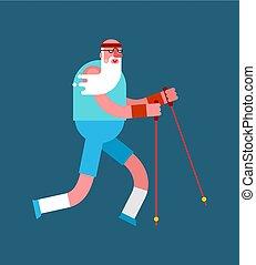 marche, vieux, isolated., formation, personnes agées, grand-père, coureur, pensioners., nordique, aller, poles., ski, homme