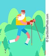 marche, vieux, isolated., formation, personnes agées, grand-père, forest., coureur, pensioners., polonais, nordique, aller, ski, homme
