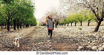 marche, vieux, parc, 7, année, girl, chiot