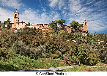 marche, ville, castelbellino, paysage, ancien, italy:, campagne, ancona, colline