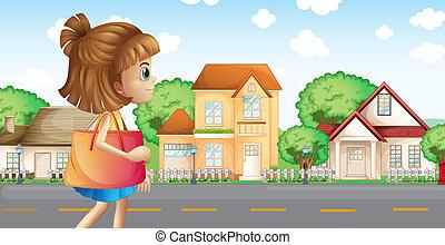 marche, voisinage, travers, girl