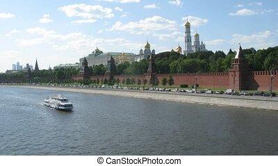 marche, voiture, moscou, trafic, russia., bateau, kremlin