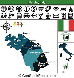 Marche with regions, Italy - Vector map of Marche with...