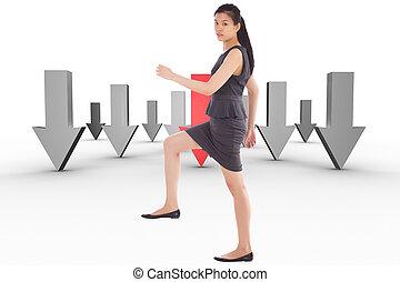 marcher, composite, haut, femme affaires, image