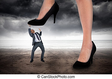 marcher, composite, minuscule, homme affaires, femme...