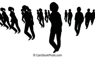 marcher, groupe, femmes