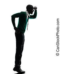 marcher sur la pointe de pieds, silhouette, noir, regarder tient, loin, africaine