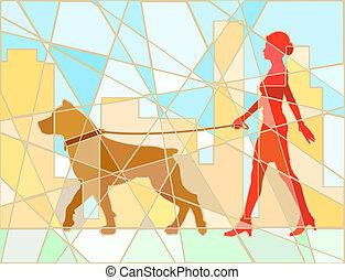 marcheur, chien, mosaïque