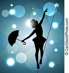 marcheur, corde raide, girl, parapluie