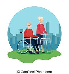 marcheur, fauteuil roulant, femme, vieil homme