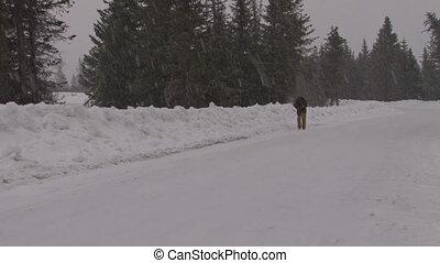 marcheur, route, 3, neige, #1