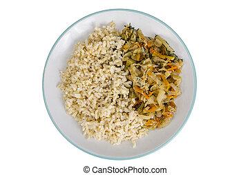 marchew, brązowy, zdrowy, wegetarianin, jadło., rice., dusił portawę, kapusta
