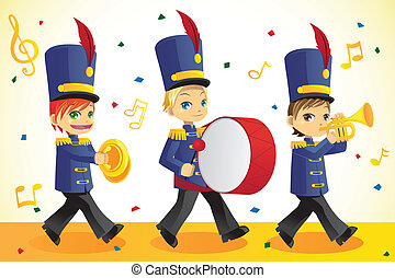 A vector illustration of kids in a marching band