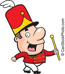 A happy cartoon marching band conductor waving and smiling.