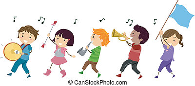 Marching Band - Illustration of a Marching Band Composed of...