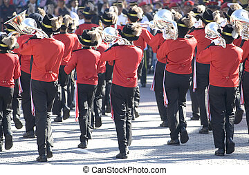Image of a marching band performing.