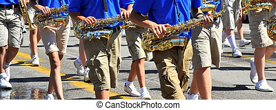 Marching band. - Marching band performing in concert...