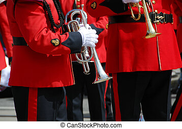Marching band playing trumpets