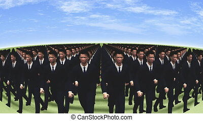 marching businessmen - image of marching businessmen