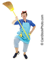 Marching Maid - Enthusiastic maid marches with her broom,...