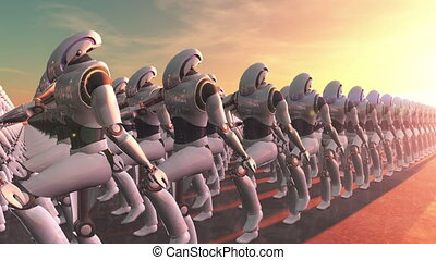 marching robots  - image of marching robots