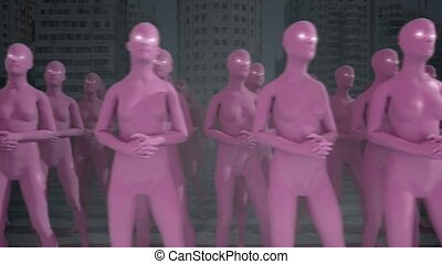 Marching to the same beat. Herd mentality concept. 3D CGI animation.