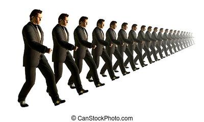 marching., vertragen, looping., zakelijk, motie, team