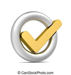 marchio, concetto, assegno, illustrazione, 3d