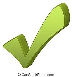 marchio, verde, assegno, 3d