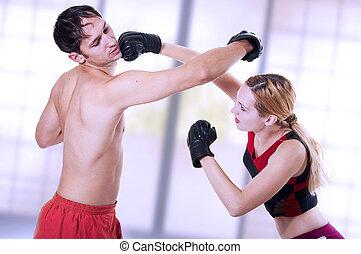 marcial, art., autodefesa, mulher, training.