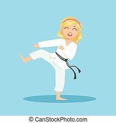 marcial, deportes, niña, pierna, lindo, blanco, caricatura, sidekick, entrenamiento, kimono, arte, karate, sonriente, carácter