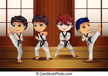 marcial, dojo, artes, practicar, niños
