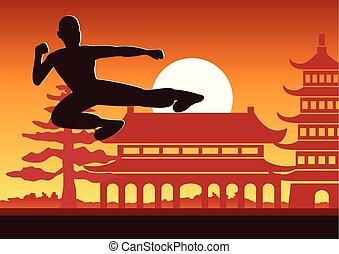 marcial, famoso, deporte, kung, boxeo, chino, fu, arte