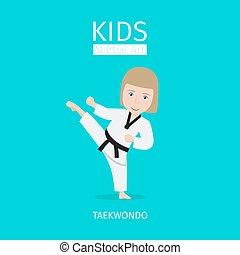 marcial, niña, niños, arte, taekwondo