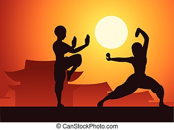 marcial, pelea, silueta, deporte, ocaso, famoso, templo, ...