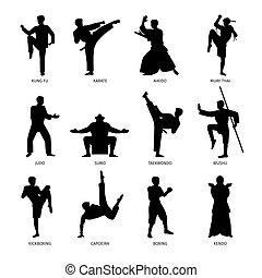 marcial, silhuetas, pretas, artes, asiático