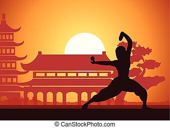 marcial, silueta, deporte, ocaso, famoso, templo, diseño, ...